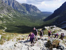 Family walking high tatras