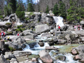 Family Walking Tatras Cold Creek Faterfalls